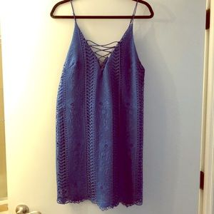 Blue sundress, tie up front and zip back.